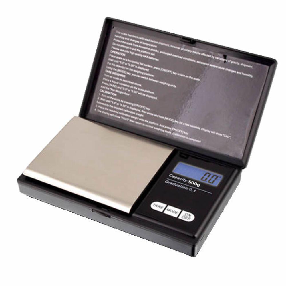Mini Balança Digital Alta Precisão de Bolso Portátil 500gr Preto - CBR1049