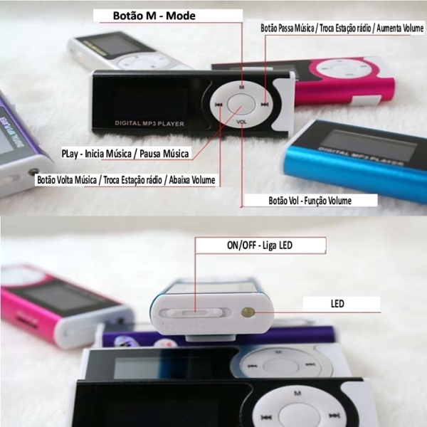 Mini Mp3 Player Visor Lcd Digital Radio FM Micro SD 4Gb Led - P03