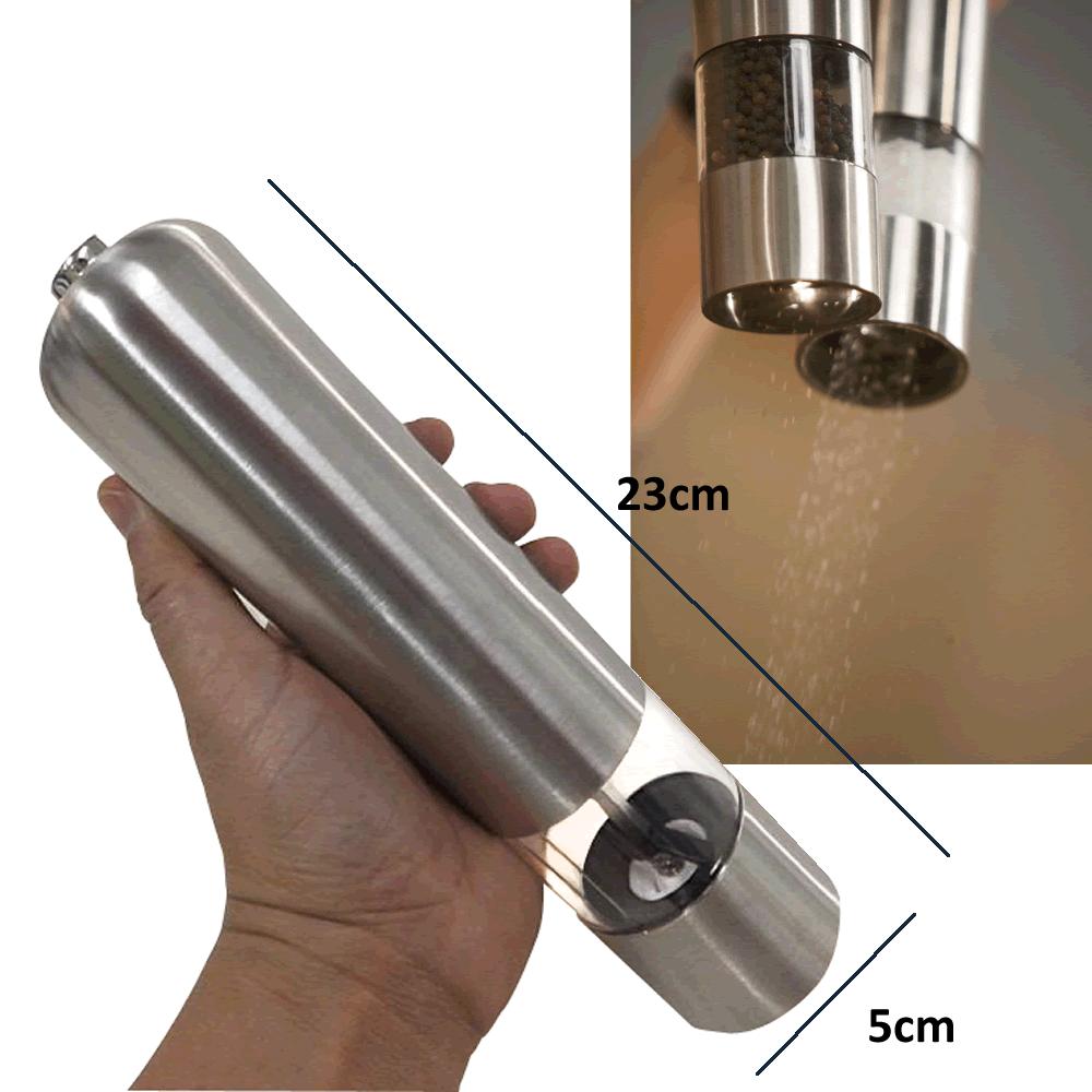Moedor Pimenta Sal Elétrico Automático Pilha Aço Inox Luz CBR03532