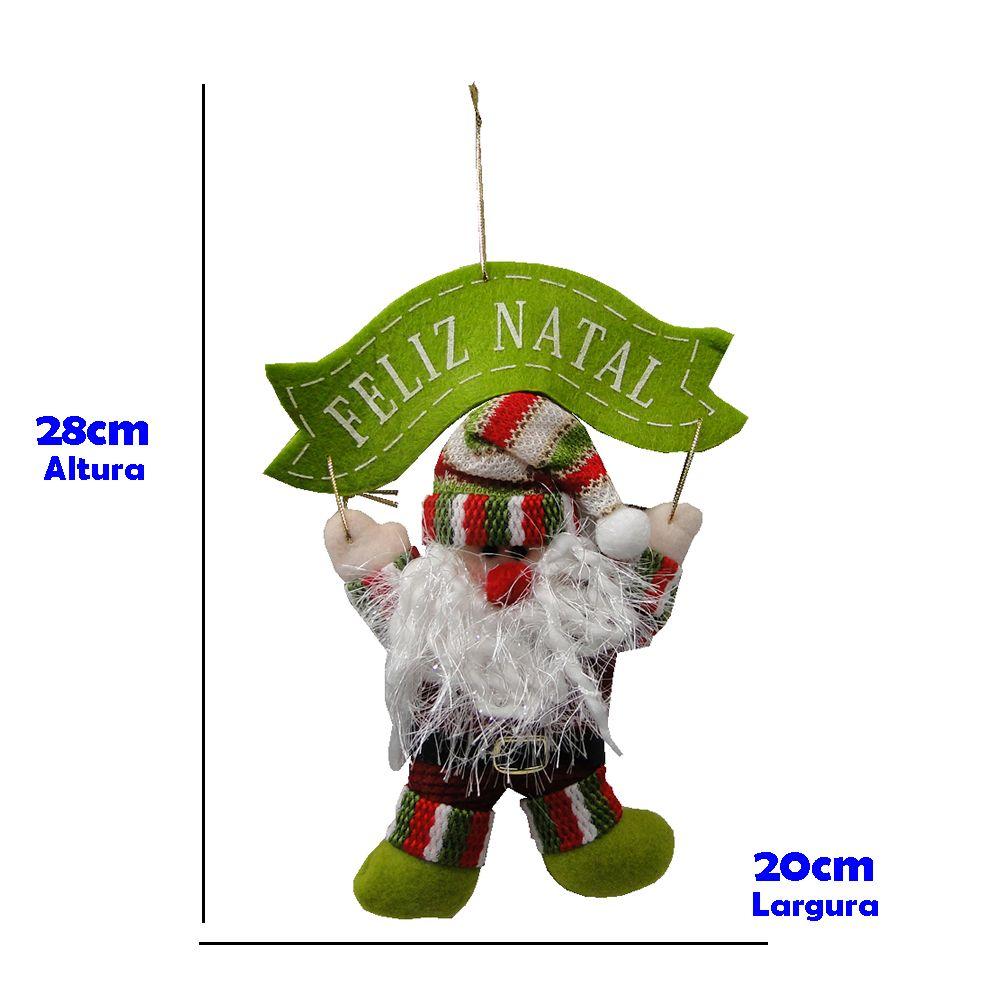 Papai Noel de Pendurar em Tecido 1441 28cm de Altura