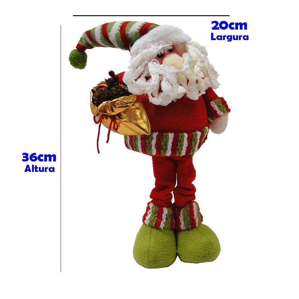 Papai Noel em Tecido com Saco de Pinha 1420 36cm de Altura