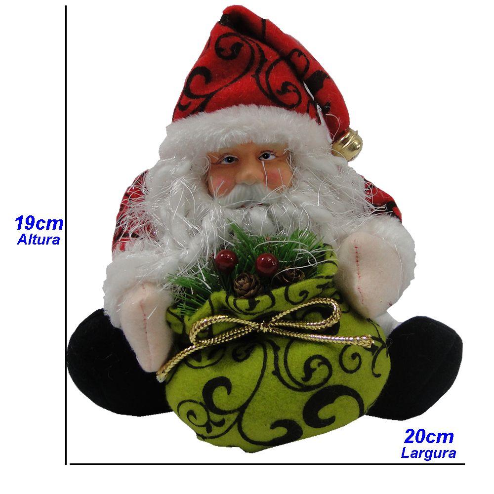 Papai Noel em Tecido com Sino 1433 19cm de Altura