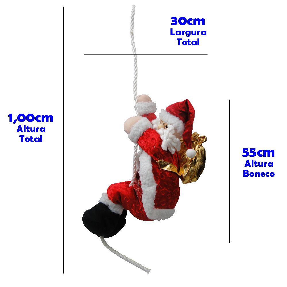 Papai Noel na Corda de Pendurar em Tecido 1408 55cm de Altura
