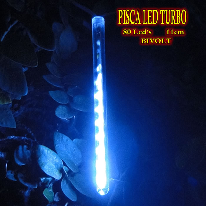 Pisca Led Turbo Snow Fall Bi-volt 80 Leds 11cm 8 tubos 2,40m piscal natal