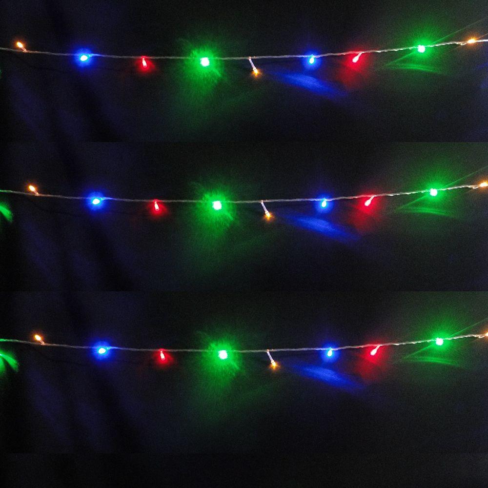 Pisca Pisca 100 LEDs 10m Colorido 110v 4 Fases Fio Transparente 1041
