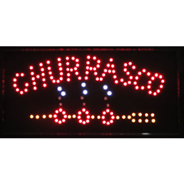 Placa Led Quadro Letreiro Luminoso Decorativo Churrasco 1607