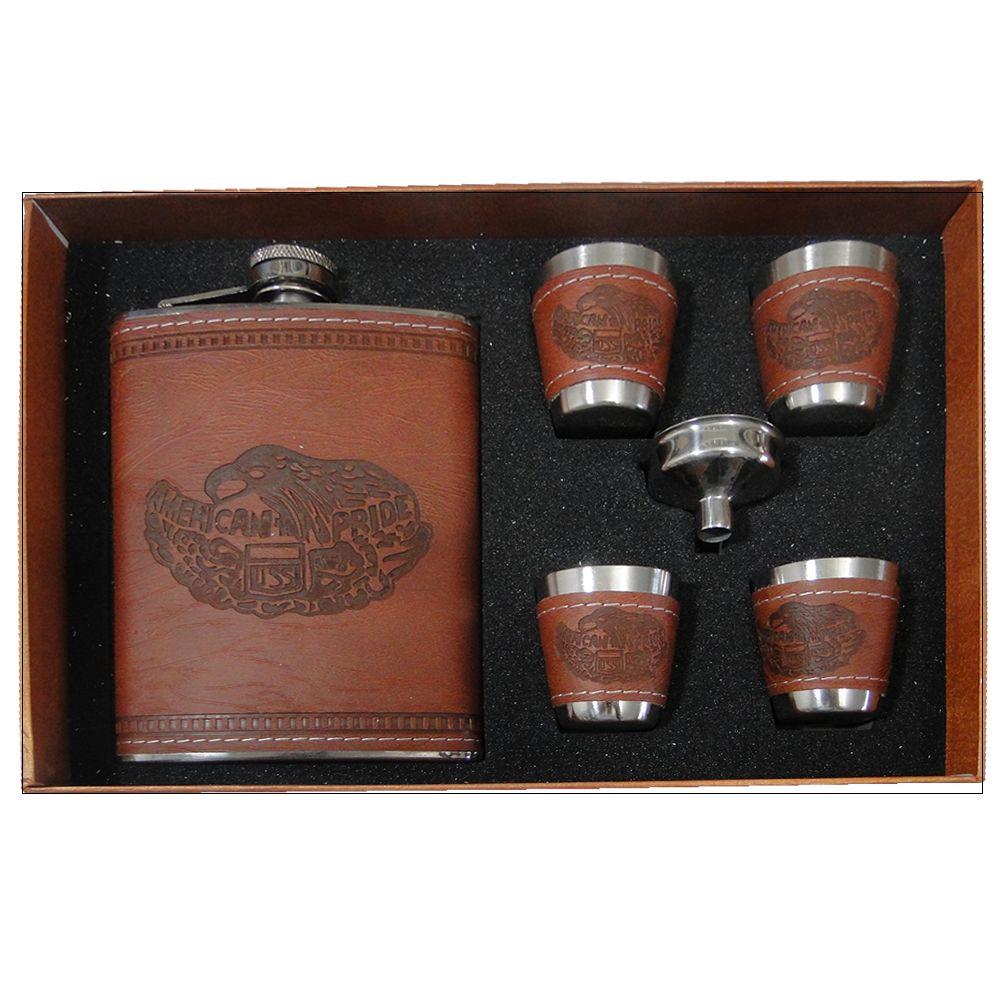 Porta Whisky Garrafa de Aço Portátil Cantil 9 OZ-270ml-JB-20108 - Marrom