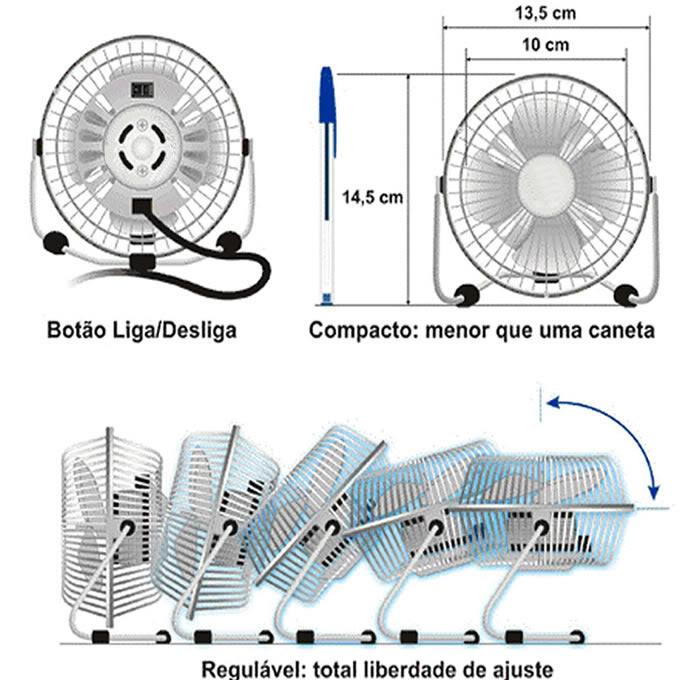 Ventilador de mesa USB para computador, notebook DS1660 / 68104 VERMELHO