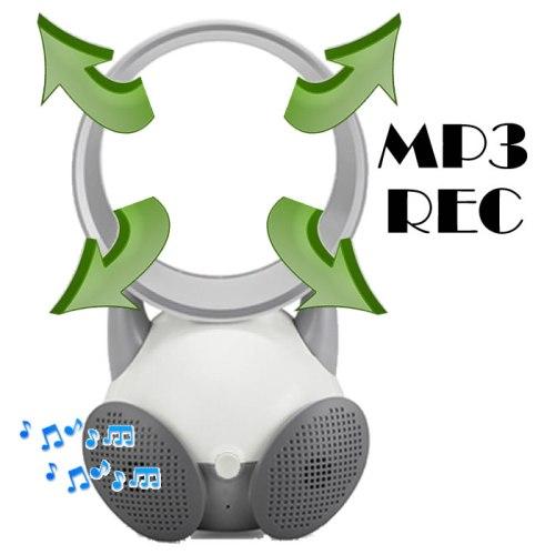 Mini Caixa de Som MP3 e REC Ventilador Sem Hélice Magic Ar USB Colorido DS809