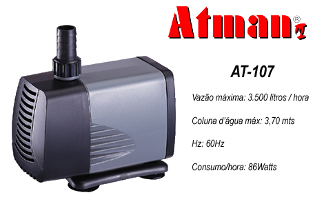 Atman Bomba Sub. - AT-107 - 3500 L/H - Coluna 3,7 m  - 110V