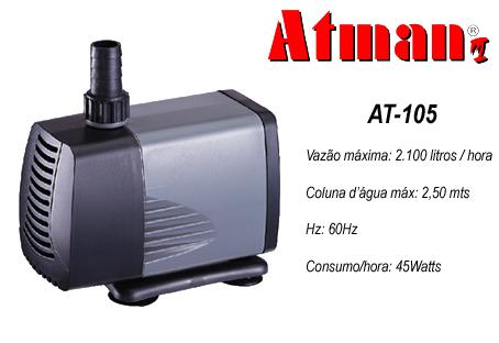 Atman Bomba Sub. - AT-105 - 2100 l/h - Coluna 2,5 m  -  220 V  (L)