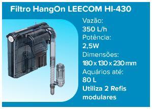 Leecom Filtro Hang On ultra-fino HI-430 - 350l/h (aqua até 80l) - 110v