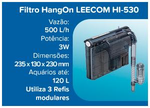 Leecom Filtro Hang On ultra-fino HI-530 - 500l/h (aqua até 120l) - 110v