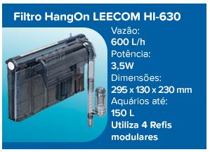 Leecom Filtro Hang On ultra-fino HI-630 - 600l/h (aqua até 150l) - 220v