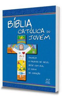 BIBLIA SAGRADA CATOLICA DO JOVEM AVE MARIA CAPA CRISTAL AZUL