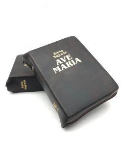 Biblia Sagrada Ave Maria Católica Bolso Ziper Marrom