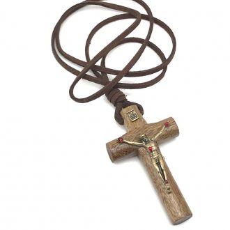 Colar Crucifixo Masculino com as Chagas de Cristo Ouro Velho