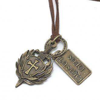 Colar em Couro Escudo da Fé de São Miguel Arcanjo Ouro Velho