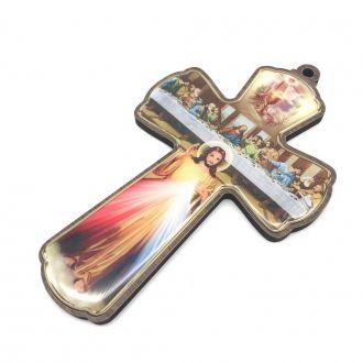 CRUCIFIXO CRUZ DE PAREDE SANTA CEIA E JESUS MISERICORDIOSO