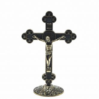 Crucifixo de Mesa Metal Medalha de São Bento Ouro Velho 13 cm