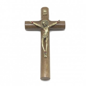 Crucifixo Parede Cilíndrico Cristo Metal São Bento Dourado 17 cm