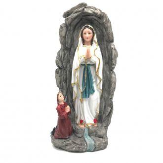 Imagem de Nossa Senhora de Lourdes com Santa Bernadete na Gruta Resina 30 cm
