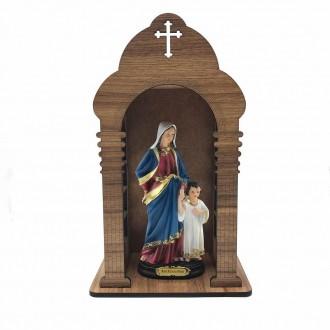 Kit Imagem Maria Passa à Frente com Oratório de Madeira