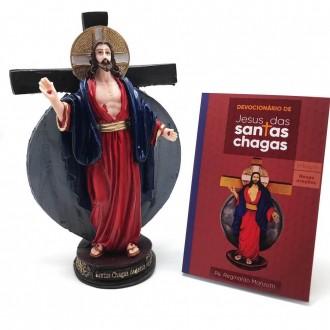 Kit Devocionário e Imagem das Santas Chagas de Jesus Resina 20 cm