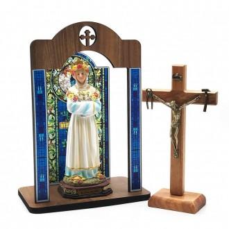 Kit Imagem e Crucifixo La Salette Com Oratório Vitral Coroação