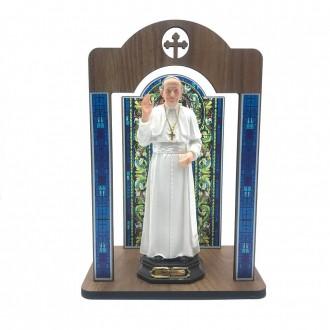 Kit Imagem Papa Francisco com Oratório Vitral Coroação