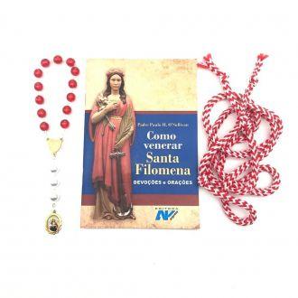 Kit Livro Como Venerar Santa Filomena + Terço e Cordão de Santa Filomena