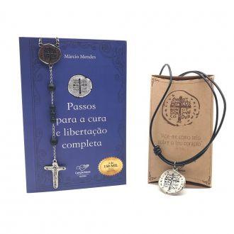 Kit Medalha das Duas Cruzes Cura e Milagres Márcio Mendes
