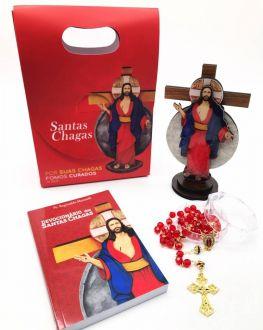 Kit Devocionario Crucifixo Terço Das Santas Chagas