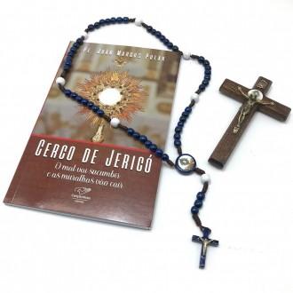 Kit Terço Crucifixo e Livro Cerco de Jericó