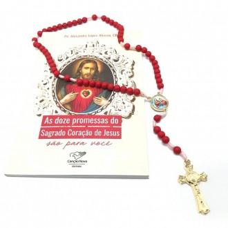 Kit Terço e Livro As Doze Promessas do Sagrado Coração de Jesus