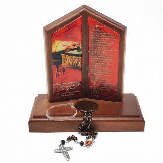 Oração de Mesa com Porta Terço Mãos Ensanguentadas de Jesus