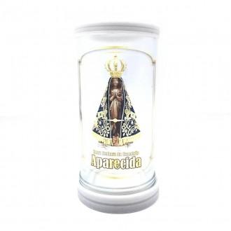 Porta Vela Nossa Senhora Aparecida Vidro com Base em Mármore