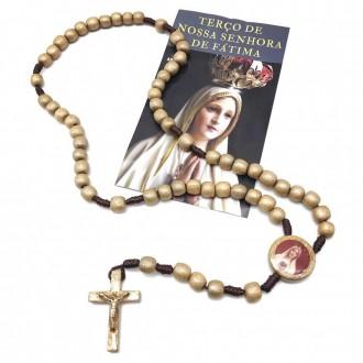 Terço de Madeira Nossa Senhora de Fátima Dourado com Folheto