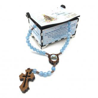 Terço de Nossa Senhora Aparecida com Porta Terço Azul