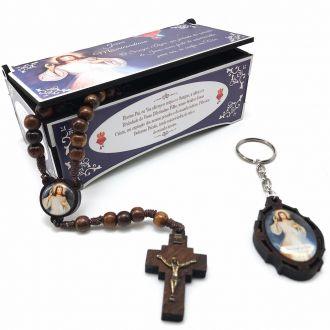 Terço e Chaveiro Jesus Misericordioso Com Caixinha Personalizada