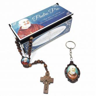 Terço e Chaveiro Padre Pio Com Caixinha Personalizada