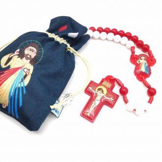 Terço Infantil para Crianças Jesus Misericordioso com Saquinho