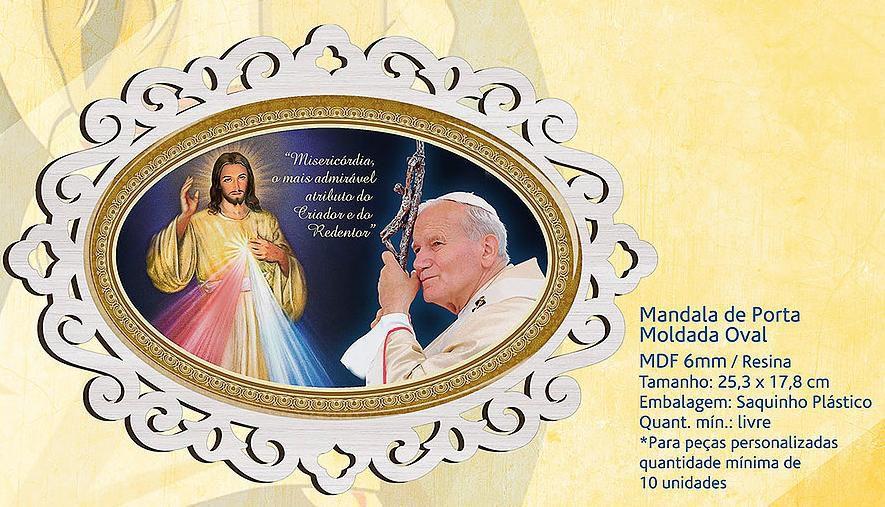Fora de linha - MANDALA DE PORTA MOLDADA OVAL JOÃO PAULO II E JESUS MISERICORDIOSO