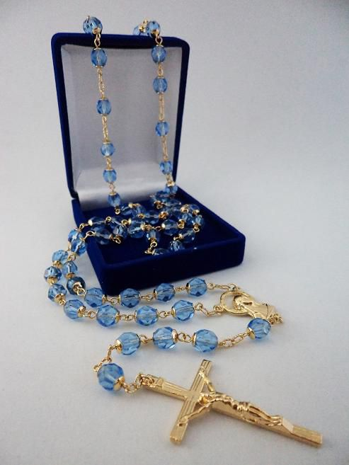 Terço Cristal Tcheco Jablonex Azul Claro 8Mm - Folheado Ouro