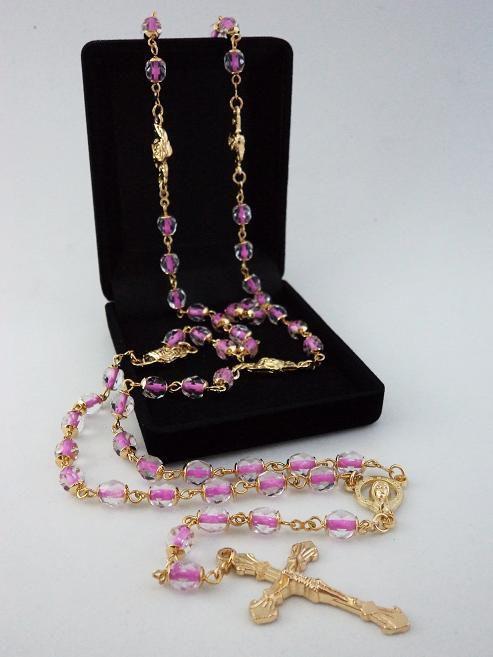 Terço Cristal Tcheco Jablonex Rosa / Transparente 6Mm - P.N. Rosas - Folh. Ouro