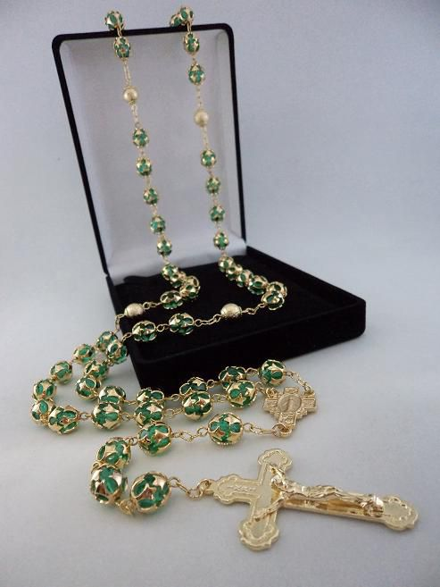 Terço Cristal Tcheco Jablonex Verde 8Mm Esp. - P.N. Dourado - Folh. Ouro