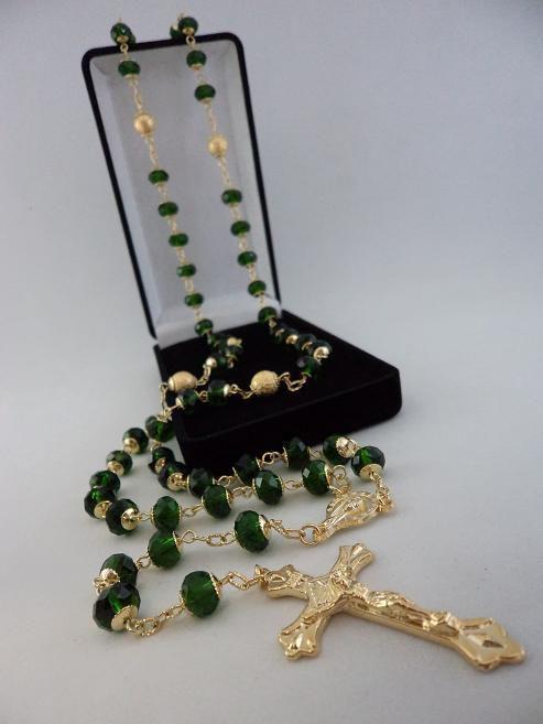 Terço Cristal Aust. Verde Escuro 8X6Mm - P.N. Dourado - Folh. Ouro