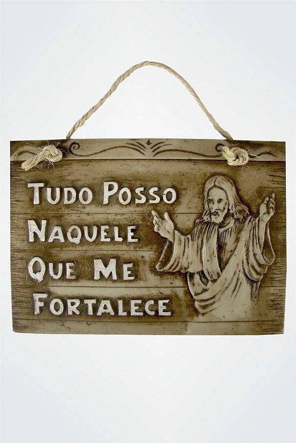 Placa Decorativa Religiosa - Tudo Posso Naquele Que Me Fortalece