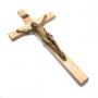 Crucifixo Madeira E Cristo Em Pó De Mármore Com Pintura Em Bronze 32 Cm