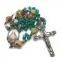 Terço Cristal Sagrado Coração De Jesus Verde Ouro Velho